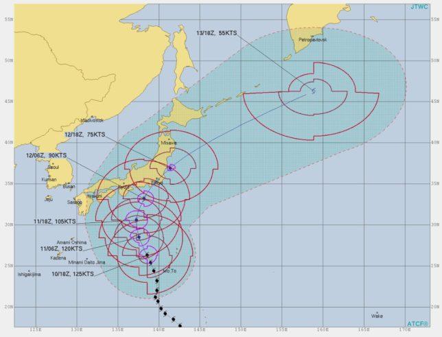 台風 19 号 の 進路